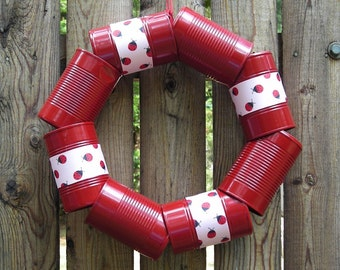 Cantastic Red Wreath made from Recycled Cans and Pink Lady Bug Ribbon Wreath - Metal Wreath - Can Wreath