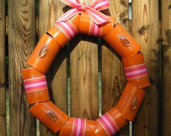 Recycled Orange Cantastic Wreath - Eco-friendly Metal Wreath - Unique Door Wreath
