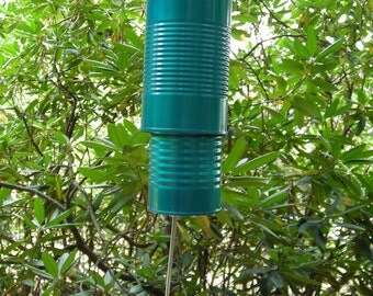 Teal Blue Recycled Windchimes - Soup Can Wind Chimes