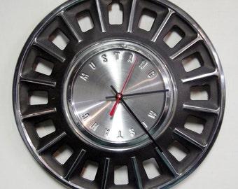 1968 Ford Mustang Hubcap Clock - Muscle Car Wall Clock - Mens Gift