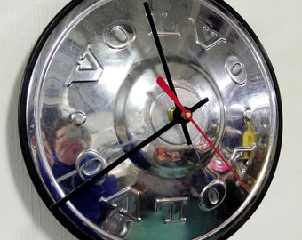 1970's Volvo 140 160 P1800 Series Hubcap Wall Clock - Recycled Car Part  - Automotive Time