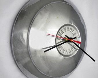 1960 Chevy Corvair Hubcap Clock - 1961 Chevrolet Hub Cap Wall Decor