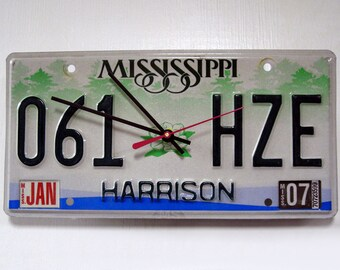 Mississippi License Plate Wall Clock - Harrison County MS License Tag State Decor
