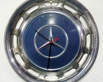 Mercedes Hubcap Wall Clock - Retro Car Hub Cap Clock - Denim Blue