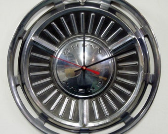 1963 - 1964 Chevrolet Chevy II Hubcap Clock - Wall Clock for the Man Cave