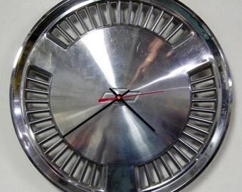 Chevy Hubcap Clock 1982 - 1984 Chevrolet Celebrity Wall Clock - 1983 Chevy Bowtie Retro Car Decor