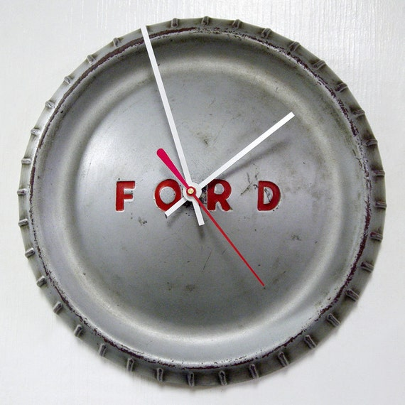 1960 - 1963 Ford Falcon Hubcap Clock - Ranchero Classic Car Wall Clock - Silver Gray with Red Letters