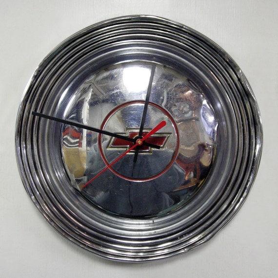 Chevy Hubcap Clock - 1966 Chevrolet Bel Air Biscayne Wall Clock - Men's Gifts