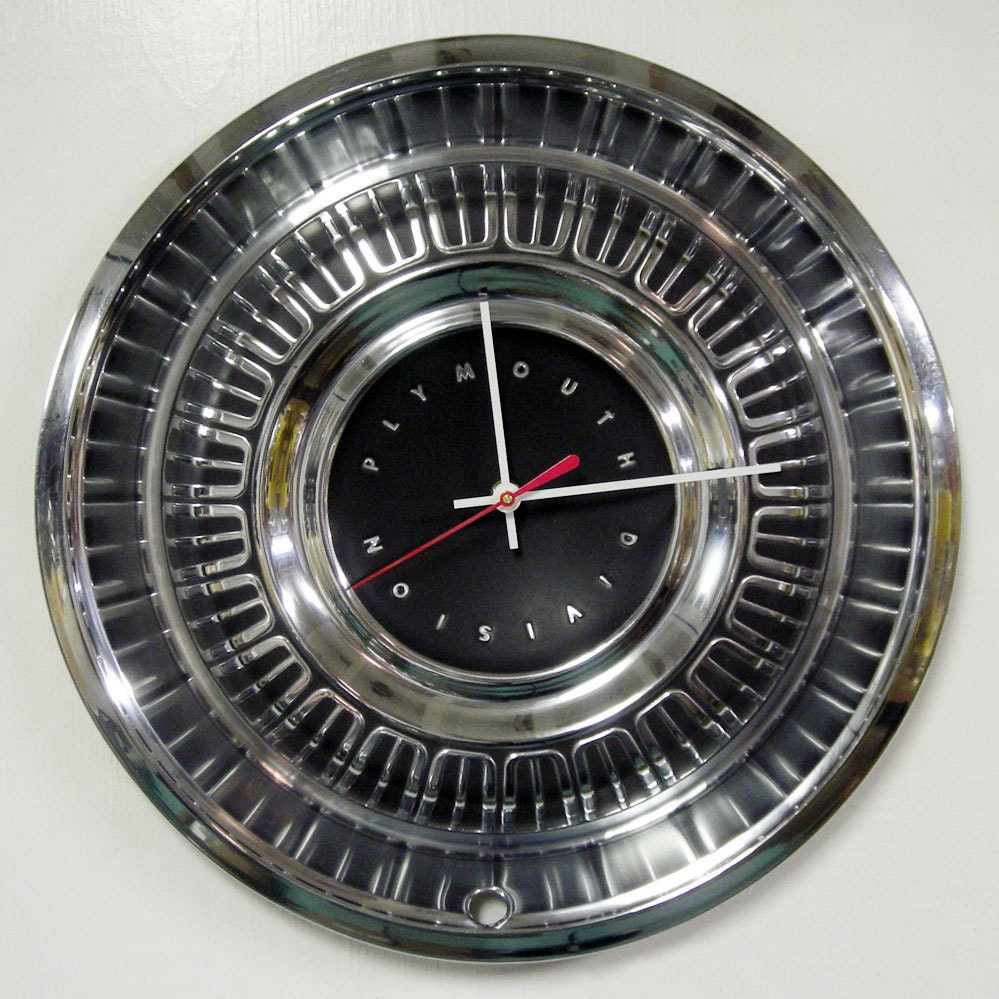 1969 Plymouth Clock Hubcap Clock Wall Clock Road Runner