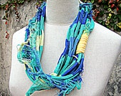 Necklace, RUSTIC LINE - recycled fiber, cotton in blue, skyblue and yellow.
