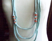 Necklace, LAZY BEADS  -  cotton strips necklace in sky-blue and orange colors