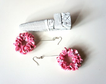 Earrings, CONNECTION, pink - t-shirt yarn, recycled yarn, in striped pink and white