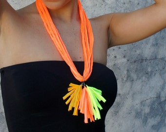 Necklace - SEA PORT - fluo line, polyamide, t-shirt yarn, recycled yarn, in orange, yellow and mustard colors