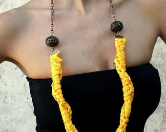 Necklace- TRIBAL - fluo line, polyamide, t-shirt yarn, recycled yarn, in mustard color