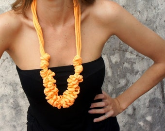 Necklace, PIERROT  -  recycled yarn, t-shirt yarn -  necklace in orange color