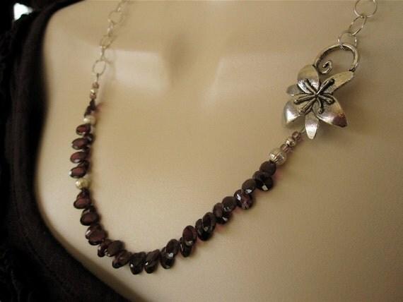 Oval Garnets Sterling Asymmetrical Handmade Necklace
