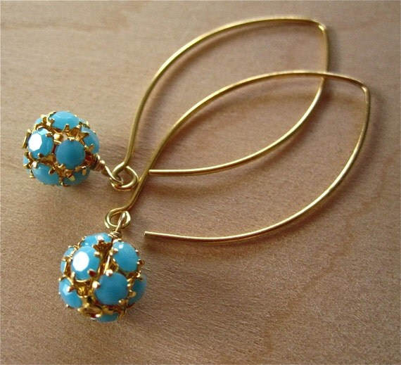 Turquoise Ball and Gold Handmade Earrings