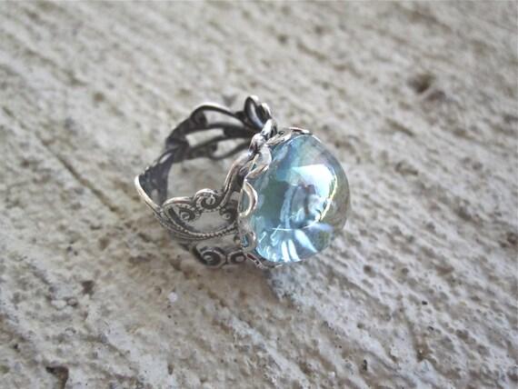 Vintage Aqua Cabachon Silver Filigree Adjustable Ring