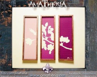 Modern miniature dollhouse tryptic painting 1/12, Sakura violet