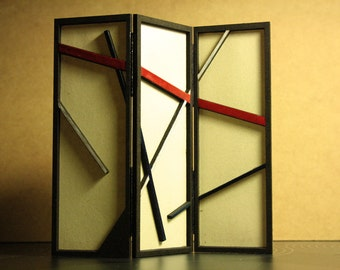 Modern miniature dollhouse folding screen - Mondrianized