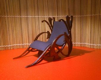 Art Nouveau style brown leather armchair , 1/12 miniature for dollhouses
