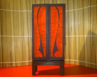 Art Nouveau funiture, red-black bookcase, 1/12 miniature for dollhouses