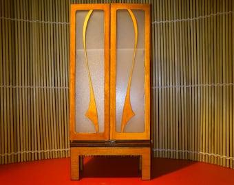 Art Nouveau furniture, old orange bookcase, 1/12 miniature for dollhouses