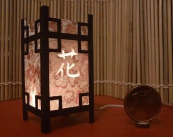 Hana. Japanese traditional kanji lamp, 1/12 miniature for dollhouses
