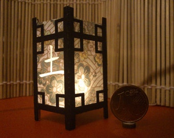 Earth. Japanese traditional kanji lamp, 1/12 miniature for dollhouses
