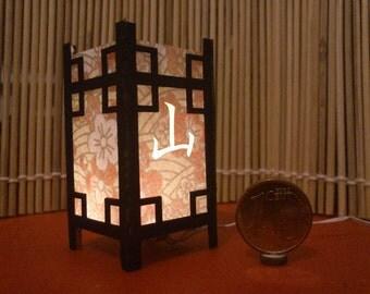 Mountain. Japanese traditional kanji lamp, 1/12 miniature for dollhouses