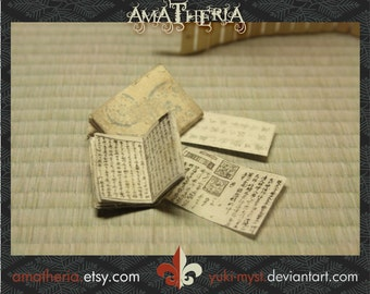 Japanese miniature dollhouse antique books set 2