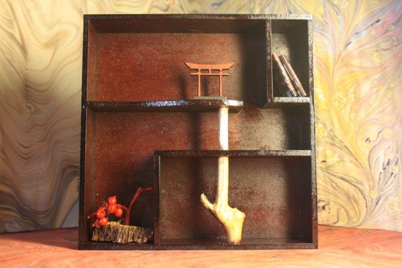 """Modern funiture, """"Natura"""" bookcase, 1/12 miniature for dollhouses"""