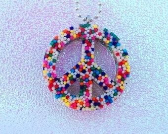 Sprinkle Peace Sign Necklace