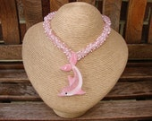 Pink Lampwork Glass Dolphin Seed Bead Necklace