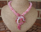 Lampwork Glass Pink Dolphin Focal Beadwork Necklace