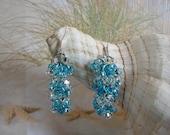 Ocean Vibes Chainmail Sterling Silver Seed Bead Earrings