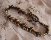 Leaf Toggle Weaved Seed Bead Bracelet