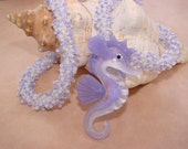 Beaded Coral Series Purple Lampwork Glass Seahorse Seed Bead Necklace