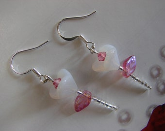 White Glass Flower with Pink Swarovski Crystal Seed Bead Earrings
