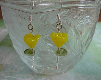 Yellow Garden Flower Glass Bead Earrings