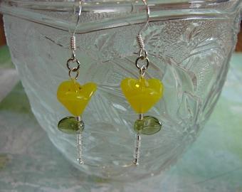 Yellow Garden Flower Glass Bead Earrings