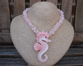 Peach Glass Lampwork Seahorse Necklace