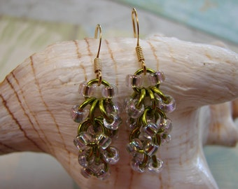 Chainmail Green and Purple Seed Bead Earrings