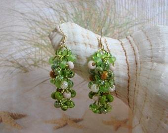 Chainmail Green Seed Bead Earrings