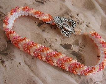Shades of Orange Seed Bead Bracelet