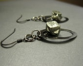 Gunmetal and Gold earrings - pyrite nuggets and gunmetal ovals