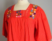 Vintage 70s Mexican Embroidered Red Tunic Dress L XL