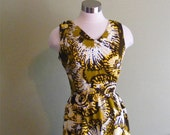 Vintage 60s Brown and Yellow Graphic Floral Print Dress S