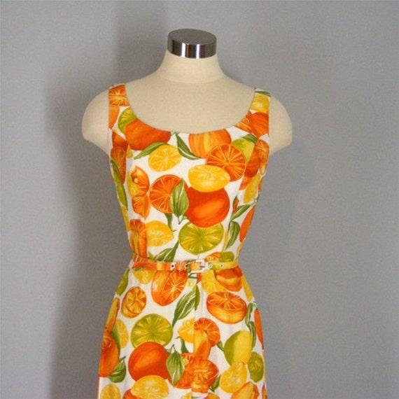Vintage 80s Orange Slice Fruit Print Sun Dress Xs