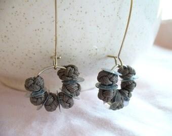 Dangle Earrings, Knotted Silk Earrings, OOAK Gift for Woman, Lightweight Earrings, Summer Earrings